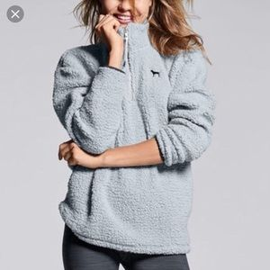 Light blue sherpa teddy pullover sweater